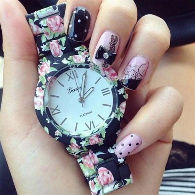 w6-18| jam tangan wanita /cewek Geneva Jtr 049 black green: Rp 105.000 Rp 73.500