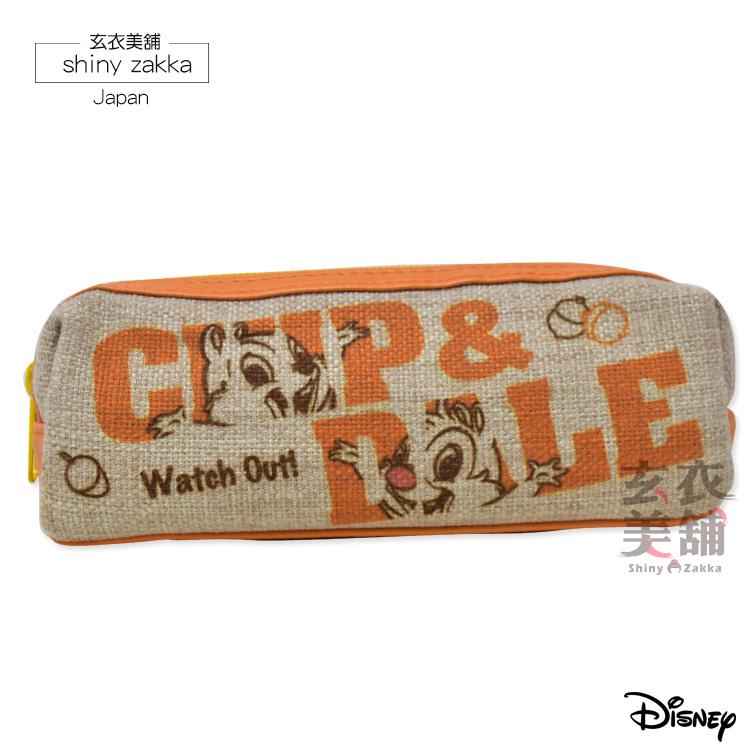 筆袋-日本迪士尼Disney奇奇蒂蒂文具 亞麻收納包-玄衣美舖