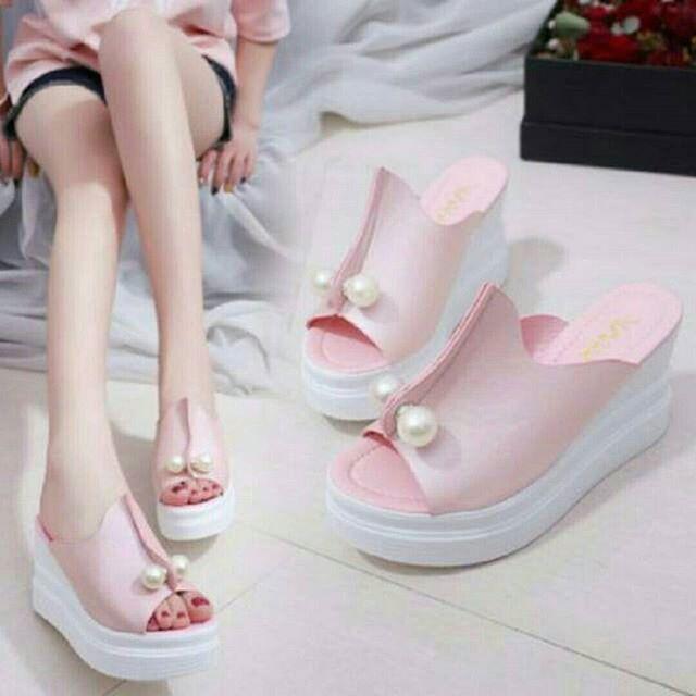 KAISAR- Sepatu Wanita Sandal Wedges Mutiara Pink
