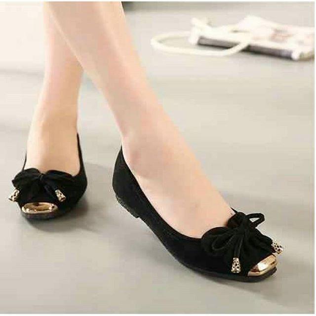 KAISAR- Sepatu Wanita Sandal Flat Shoes Kupu-Kupu Hitam