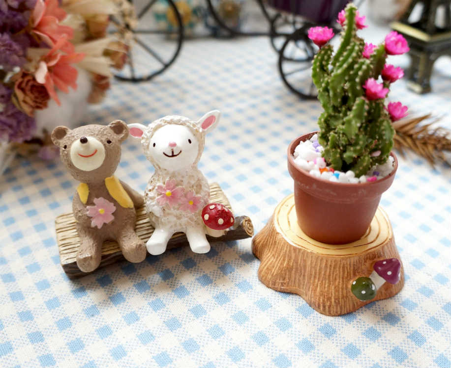 【Caldo卡朵生活】ZAKKA可愛菇動物坐椅造景擺飾(圓木椅/長木凳)