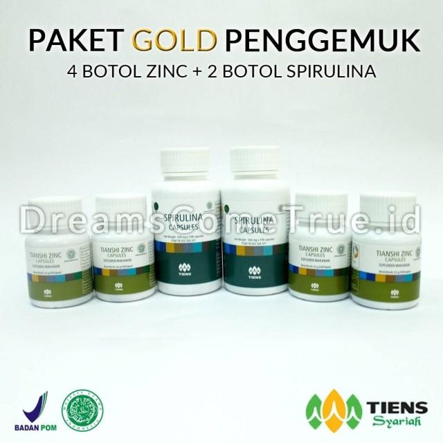 Paket Gold Penggemuk Badan Tiens (2 Spirulina + 4 Zinc): Rp 1.650.000 Rp 1.390.000