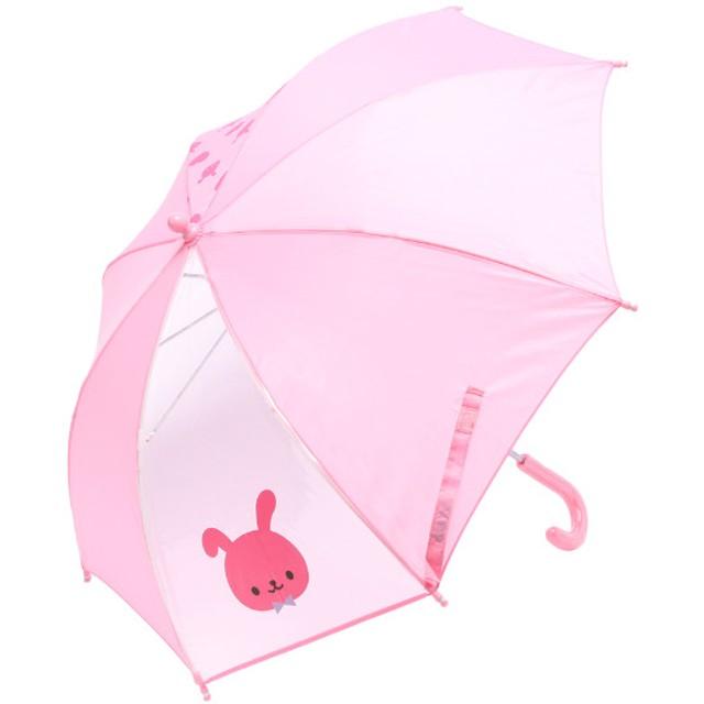 ウサギ柄傘 薄ピンク ベビーウェア レイングッズ 90107