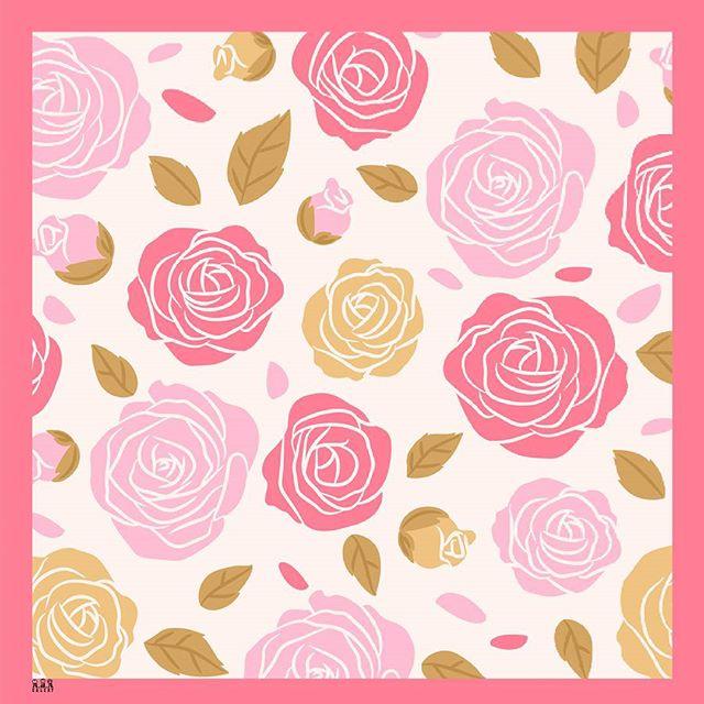 [PRE ORDER] jilbab segi empat printing custom motif rose floral