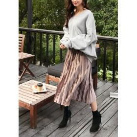 ○雑誌掲載商品○ウエストストレッチベロアプリーツスカート・全4色・b49086