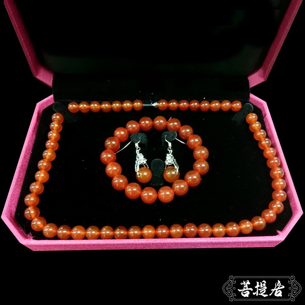【菩提居】天然紅玉髓典藏三件組(耳環/項鍊/手鍊 8mm)