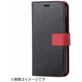 iPhone X用 手帳型 レザーカバー スプリットレザー Tec teilor ベルト付 ブラック PM-A17XPLFHSBK