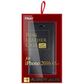 iPhone 7用 手帳型 ケース 本革 軽量 ブラック×レッド SMC-IP1606BKR