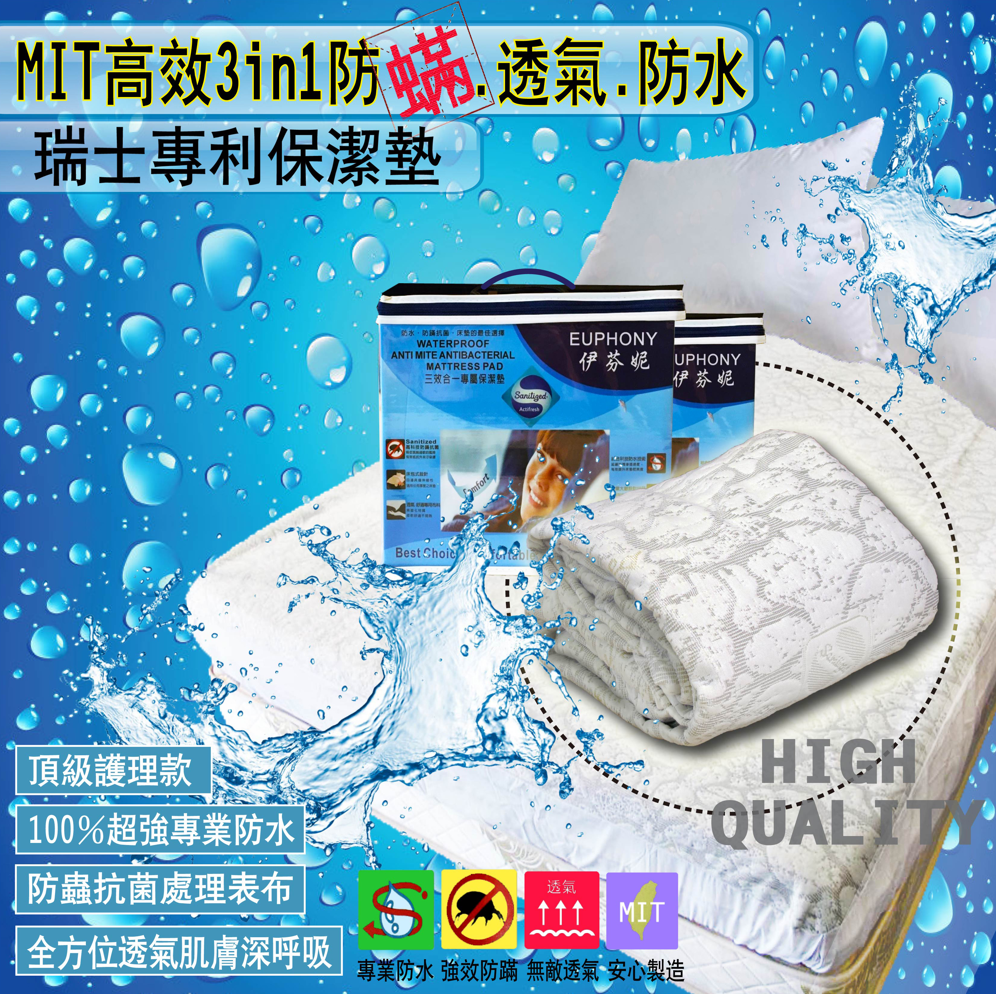 MIT高效3in1瑞士專利抗螨防水透氣保潔墊(6尺)