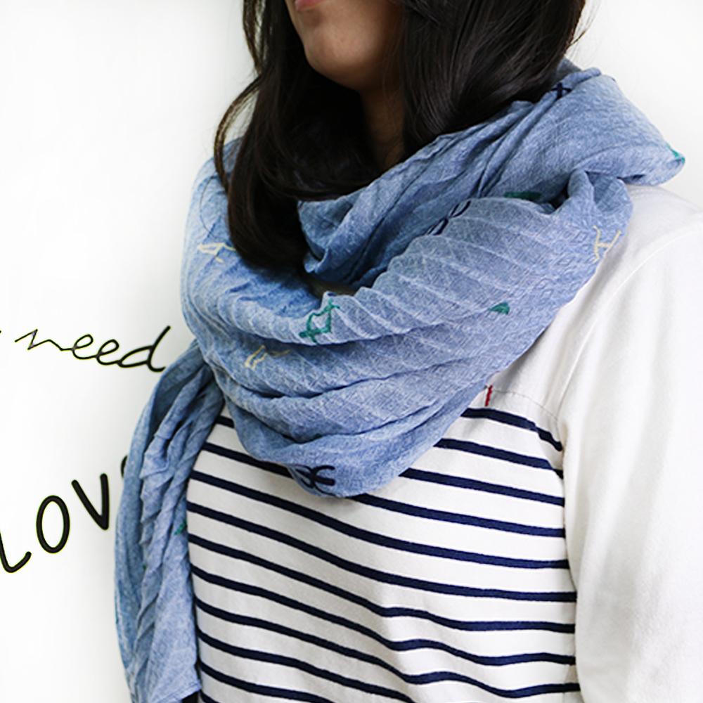 【Lus.G】時尚個性圖紋棉質圍巾-共7色