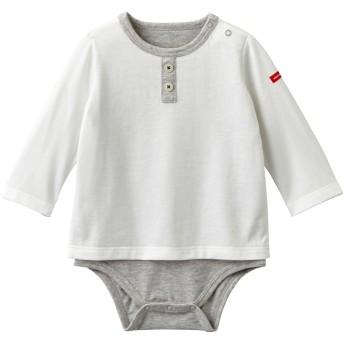 ミキハウス 飾りボタン付き シンプル長袖ボディシャツ 白