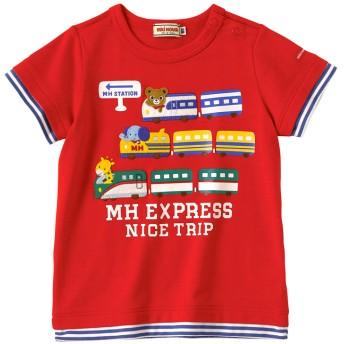 ミキハウス MHエクスプレス 重ね着風半袖Tシャツ コーラルレッド