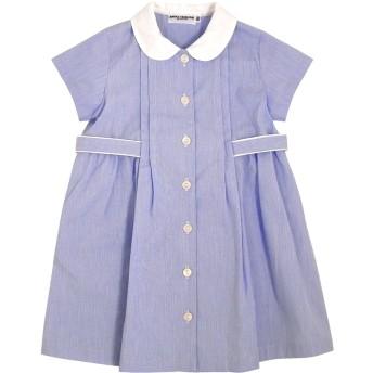 ミキハウス ブルーの丸襟半袖ワンピース