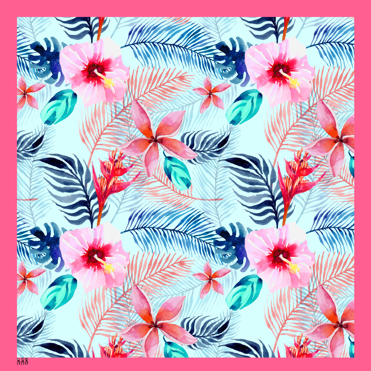 [PRE ORDER] Jilbab Segi Empat Printing Motif Tropical Flowers