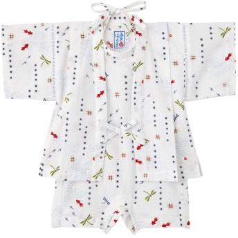 ミキハウス 男の子用 金魚&トンボ和柄の甚平スーツ(きんたろう型) 白