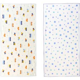 ミキハウス ガーゼタオルセット(2枚組) 白×ブルー