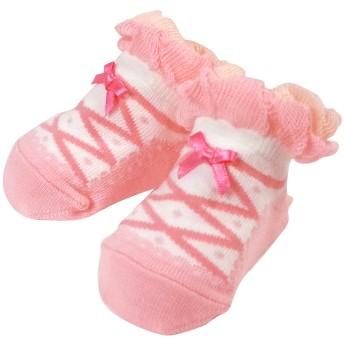 ミキハウス シューズ柄のベビーソックス 白×ピンク