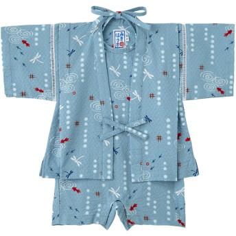 ミキハウス 男の子用 金魚&トンボ和柄の甚平スーツ(きんたろう型) ブルー