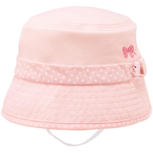 ミキハウス 日よけカバー付き ニットメッシュハット(帽子) ピンク