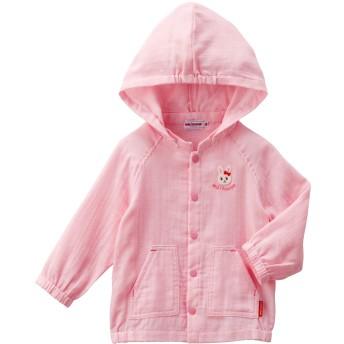 ミキハウス プッチー&うさこ やわらかダンガリーニ重織パーカー ピンク