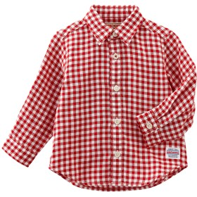 ミキハウス 先染二重織 ギンガムチェック長袖シャツ 赤