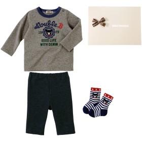 ミキハウス ■Tシャツ・スパッツ・ソックス3点セット【フリー(70-80cm) グレー】