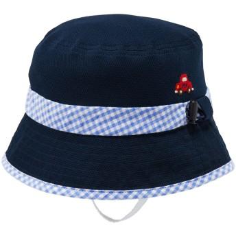 ミキハウス 日よけカバー付き ニットメッシュハット(帽子) 紺×白