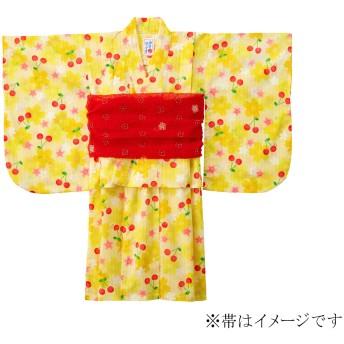 ミキハウス さくら&チェリー柄浴衣(女の子用) 黄