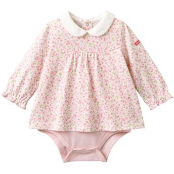 ミキハウス 白襟付き 小花柄長袖ボディシャツ ピンク