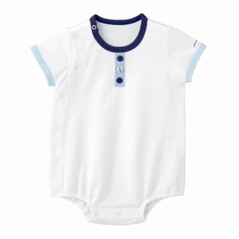 ミキハウス イカリマークボタンの半袖ボディシャツ 白
