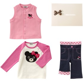 ミキハウス ■Tシャツ・ベスト・スパッツセット【フリー(70-80cm) ピンク】