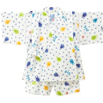 ミキハウス 男の子用 クワガタ&とんぼ柄の甚平スーツ 白