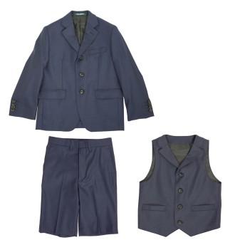 ミキハウス ロロピアーナ社製生地を使用スリーピーススーツ 紺