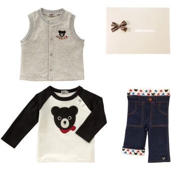ミキハウス ■Tシャツ・ベスト・スパッツセット【フリー(70-80cm)黒】