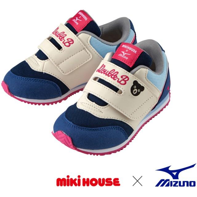 ミキハウス ミズノコラボキッズシューズ 紺×ピンク