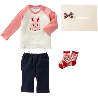ミキハウス ■プッチー&うさこのお顔Tシャツセット【F(70-80cm) ピンク】
