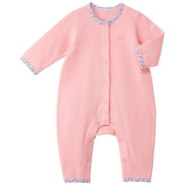 ミキハウス ワンポイント刺繍付きカバーオール ピンク