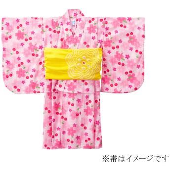 ミキハウス さくら&チェリー柄浴衣(女の子用) ピンク