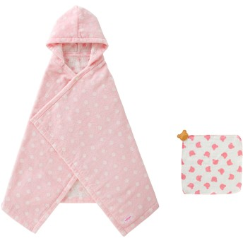 ミキハウス ■バスポンチョ&ハンカチセット【ピンク】