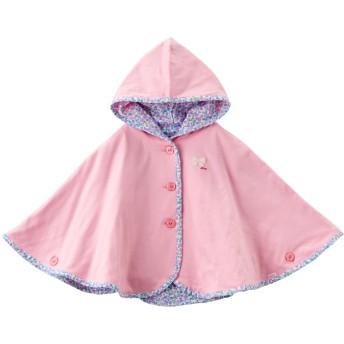 ミキハウス イカリマーク&リボン♪リバーシブルポンチョ ピンク
