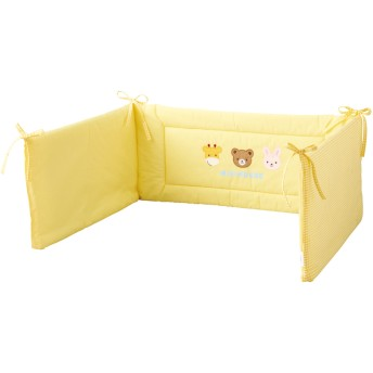 ミキハウス ■どうぶつ柄ベビーベッドガード 黄