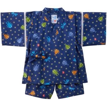 ミキハウス 男の子用 クワガタ&とんぼ柄の甚平スーツ 紺