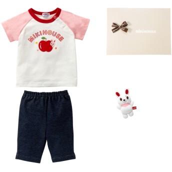 ミキハウス ■プッチー&うさこ 半袖Tシャツセット【フリー(70-80cm) ピンク】