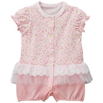 ミキハウス チュールレースつき小花柄ショートオール ピンク