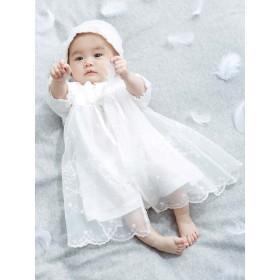 【ANGELIEBE/エンジェリーベ】【日本製】新生児サマーセレモニードレス&帽子セット オフホワイト 50-70