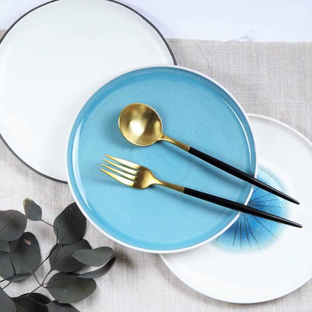 現貨出清【Caldo卡朵生活】風雅日式8吋淺口陶瓷餐盤