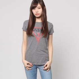 ゲス GUESS S/S DRIPPING TRIANGLE LOGO TEE (HEATHER MEDIUM CHARCOAL)