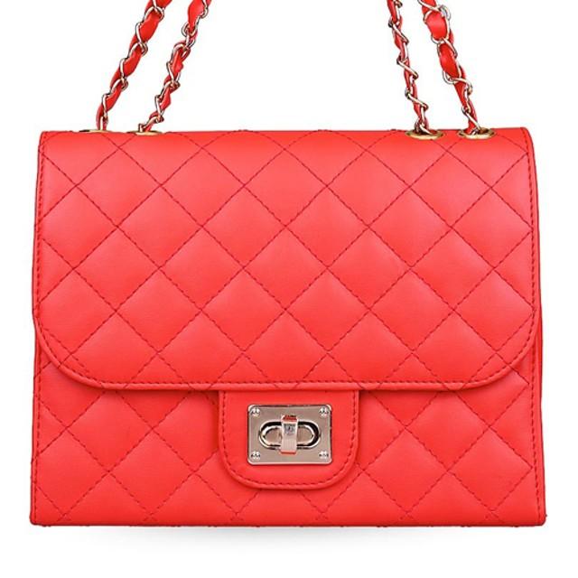 tas pundak wanita shoulder bag cewek merah tali besi motif kota bta248: Rp 63.400