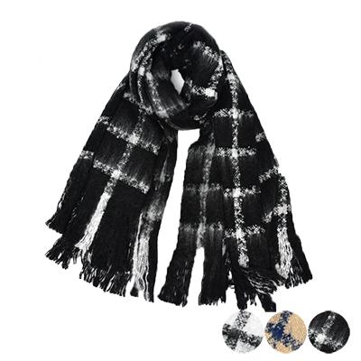 日本圍巾-百搭雙色格紋圍巾-3色-玄衣美舖