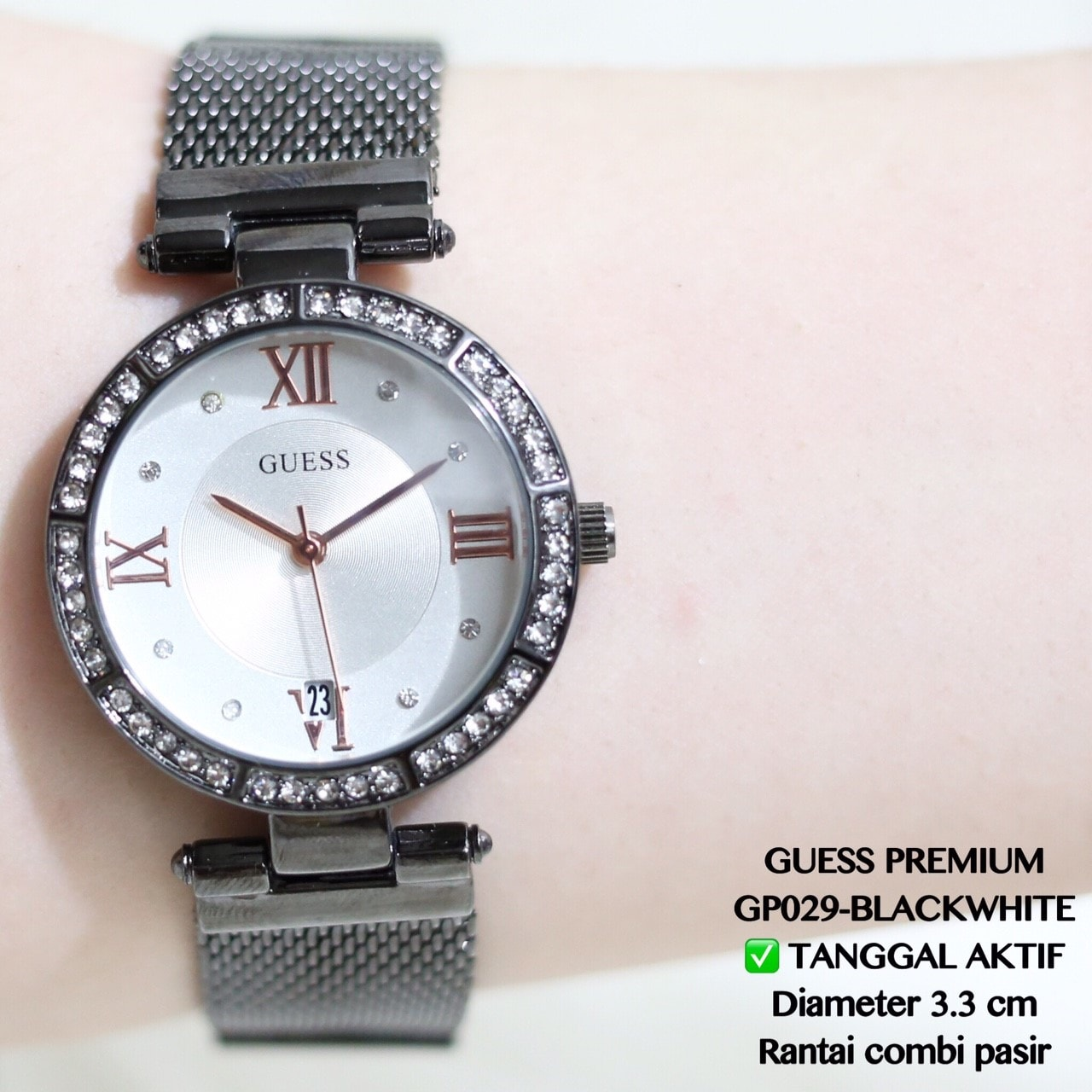 Jam tangan guess rantai silver grosir termurah fashion casual formal 4cec3d5708